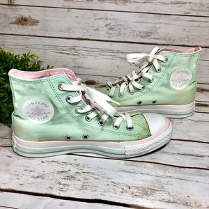 Converse Mint Green Pink High Top Sneakers Skate